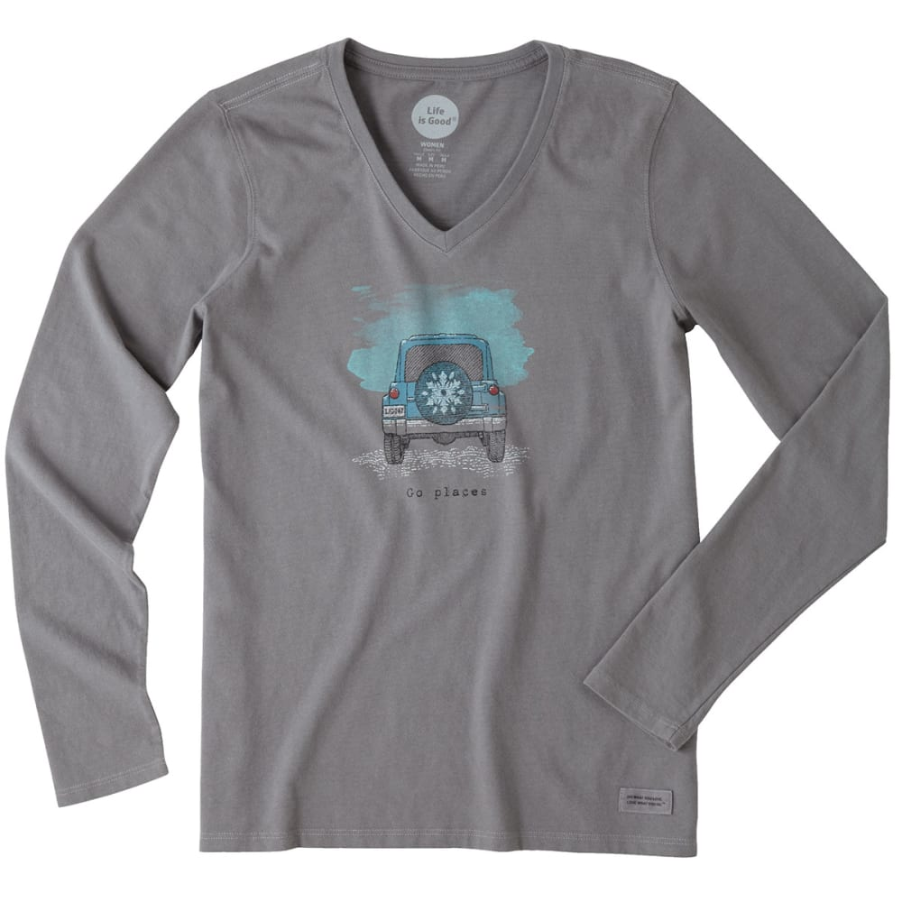 LIFE IS GOOD Women's Go Places Tire Cover Long-Sleeve Crusher V-Neck Tee - SLATE GREY