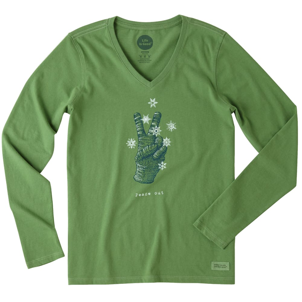 LIFE IS GOOD Women's Peace Out Glove Long-Sleeve Crusher V-Neck Tee - TREETOP GREEN