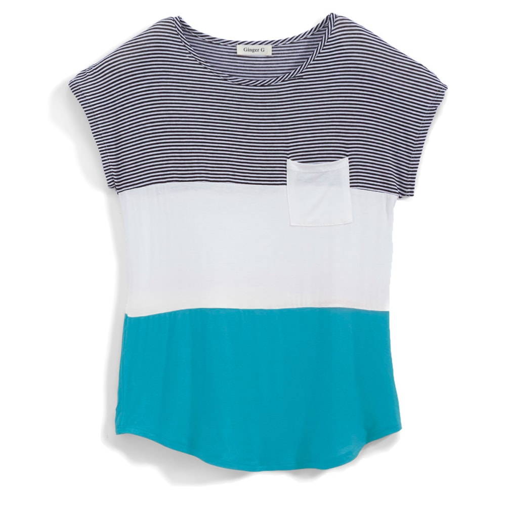 GINGER G Juniors' Stripe Colorblock Pocket Tee - AQUA