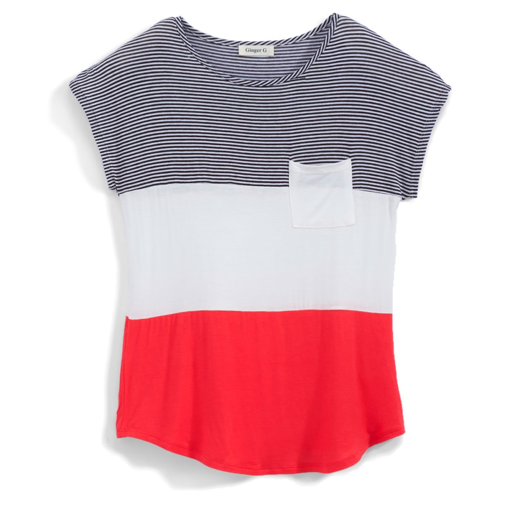 GINGER G Juniors' Stripe Colorblock Pocket Tee - CORAL