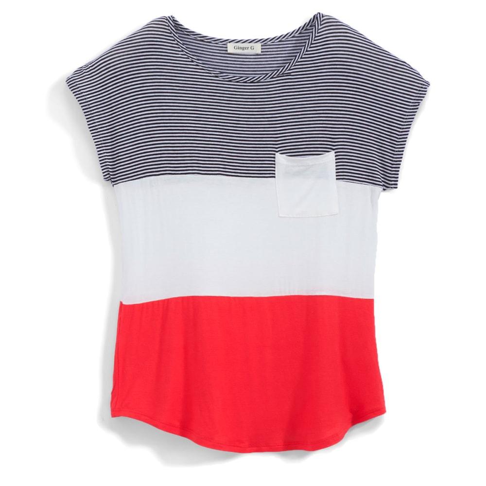 GINGER G Juniors' Stripe Colorblock Pocket Tee - CORAL