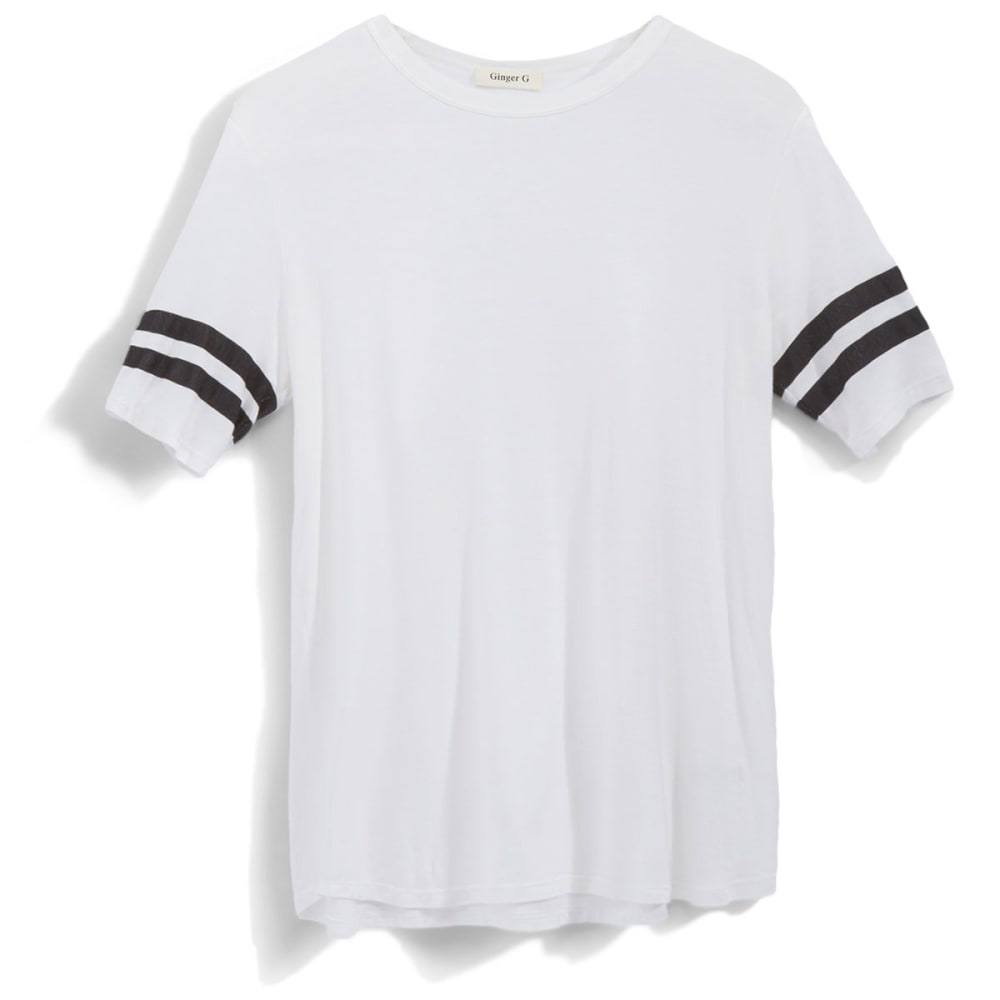GINGER G Juniors' Rugby Crewneck Tee - WHITE