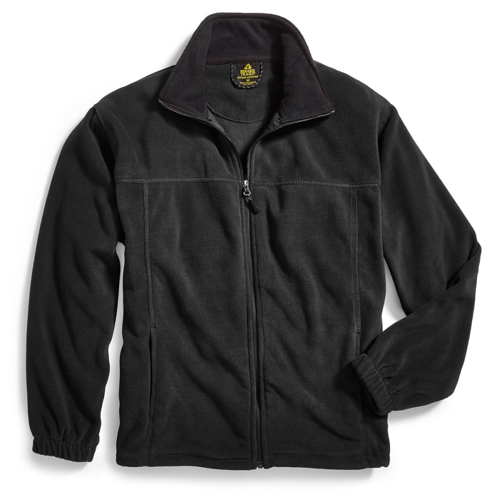 RUGGED TRAILS Men's Full-Zip Storm Fleece - BLACK