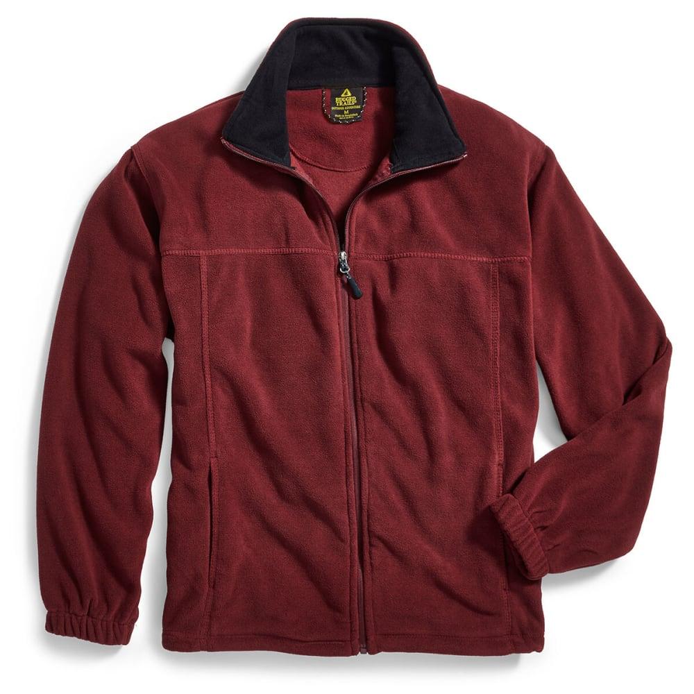 RUGGED TRAILS Men's Full-Zip Storm Fleece - BURGUNDY HTR