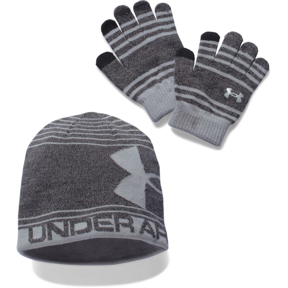 UNDER ARMOUR Boys' Hat and Glove Set - BLACK/GREY 001