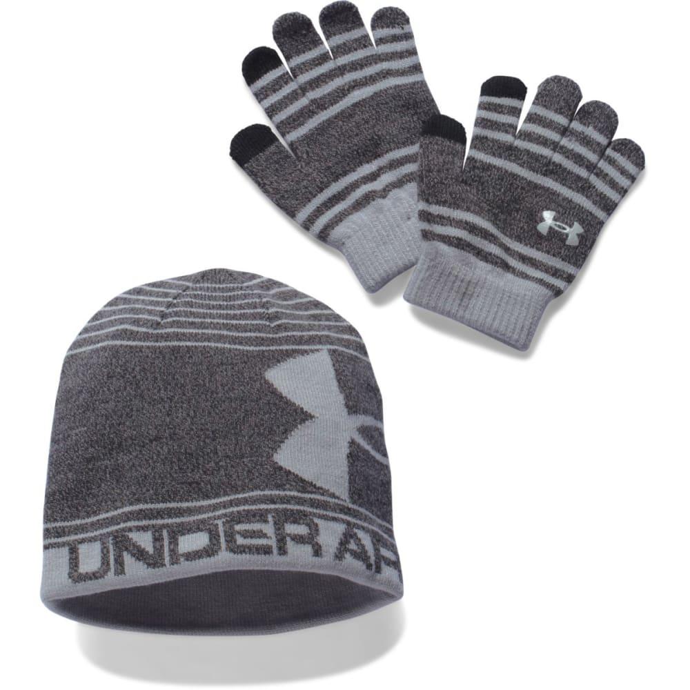 UNDER ARMOUR Boys' Hat and Glove Set - BLACK/GREY 001