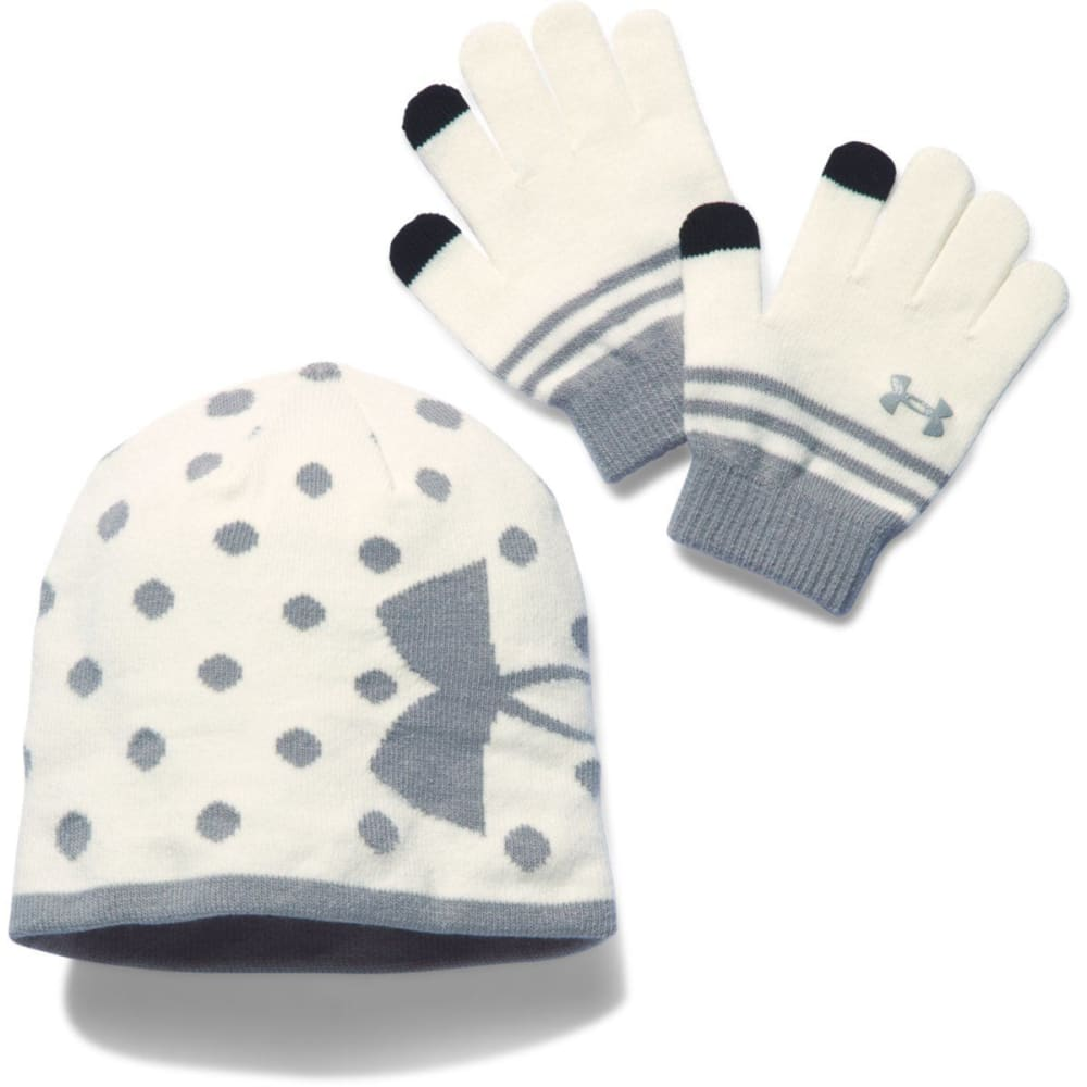 UNDER ARMOUR Girls' Hat & Glove Set - IVORY/STEEL 131