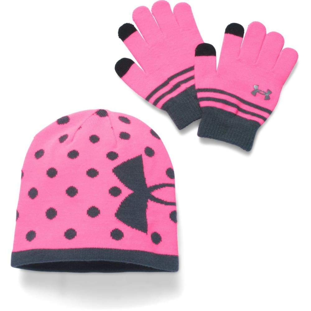 UNDER ARMOUR Girls' Hat & Glove Set - PINK STEALTH GRY640