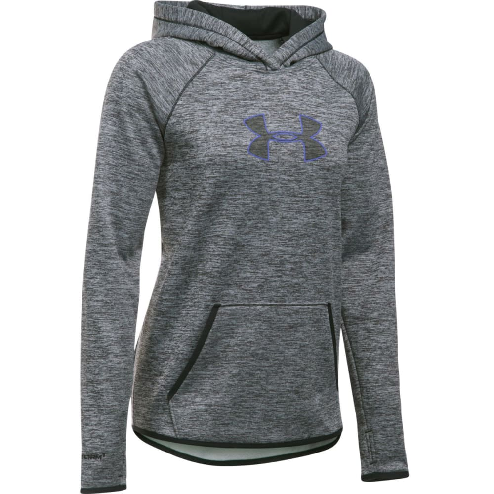 UNDER ARMOUR Women's Armour Fleece Logo Twist Hoodie - BLK/VIOLET STORM 001