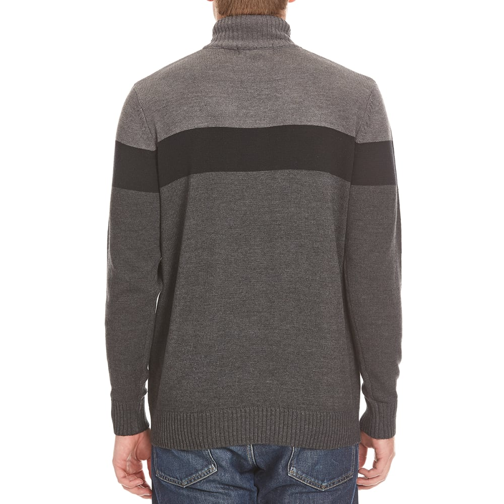 TRICOT ST. RAPHAEL Men's Color-Block 1/4 Zip Sherpa-Lined Sweater - CHARCOAL HTR
