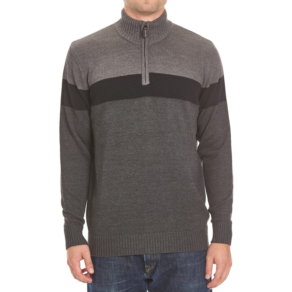 RUGGED TRAILS Men's Color-Block 1/4 Zip Sherpa-Lined Sweater - CHARCOAL HTR