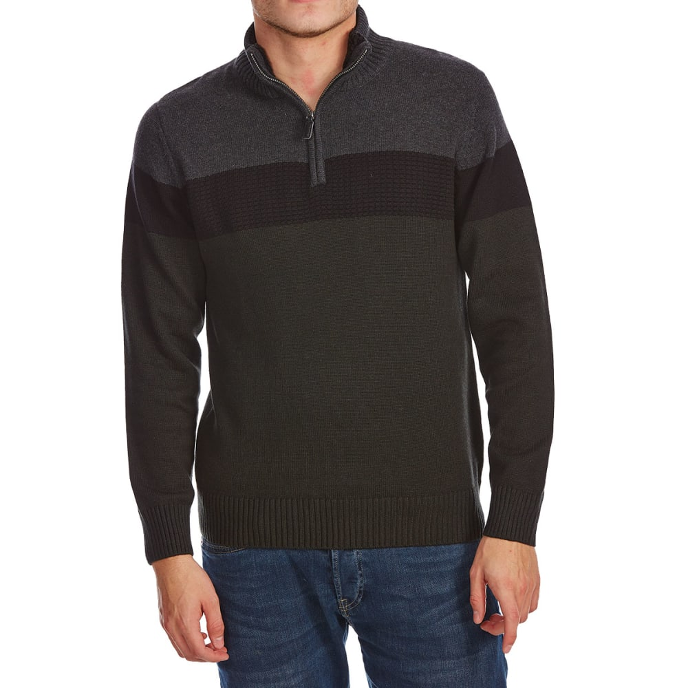 RUGGED TRAILS Men's Color-Block 1/4 Zip Sherpa-Lined Sweater - SEAWEED HTR