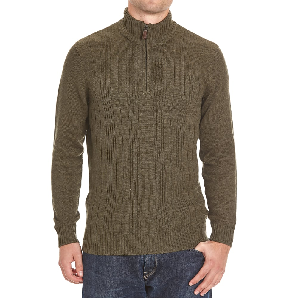 TRICOT ST. RAPHAEL Men's Variegated 1/4 Zip Sherpa-Lined Sweater - PARSLEY HTR