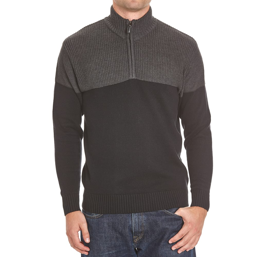 TRICOT ST. RAPHAEL Men's Shaker Color-Block 1/4 Zip Sherpa-Lined Sweater - BLACK