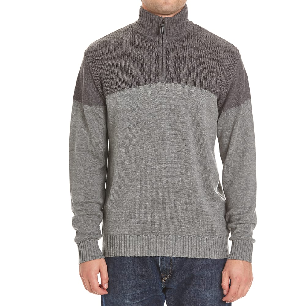 TRICOT ST. RAPHAEL Men's Shaker Color-Block 1/4 Zip Sherpa-Lined Sweater - GRANITE