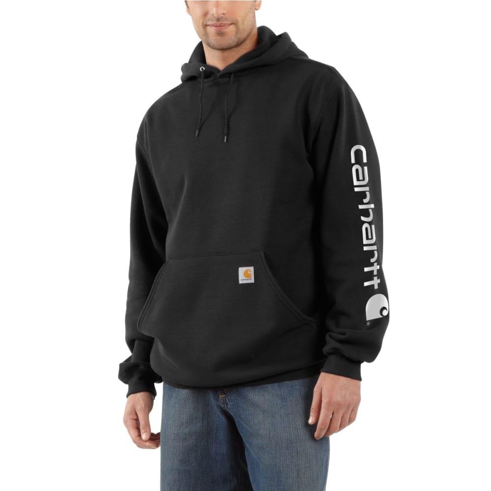 CARHARTT Men's Midweight Hooded Logo Sweatshirt - BLACK