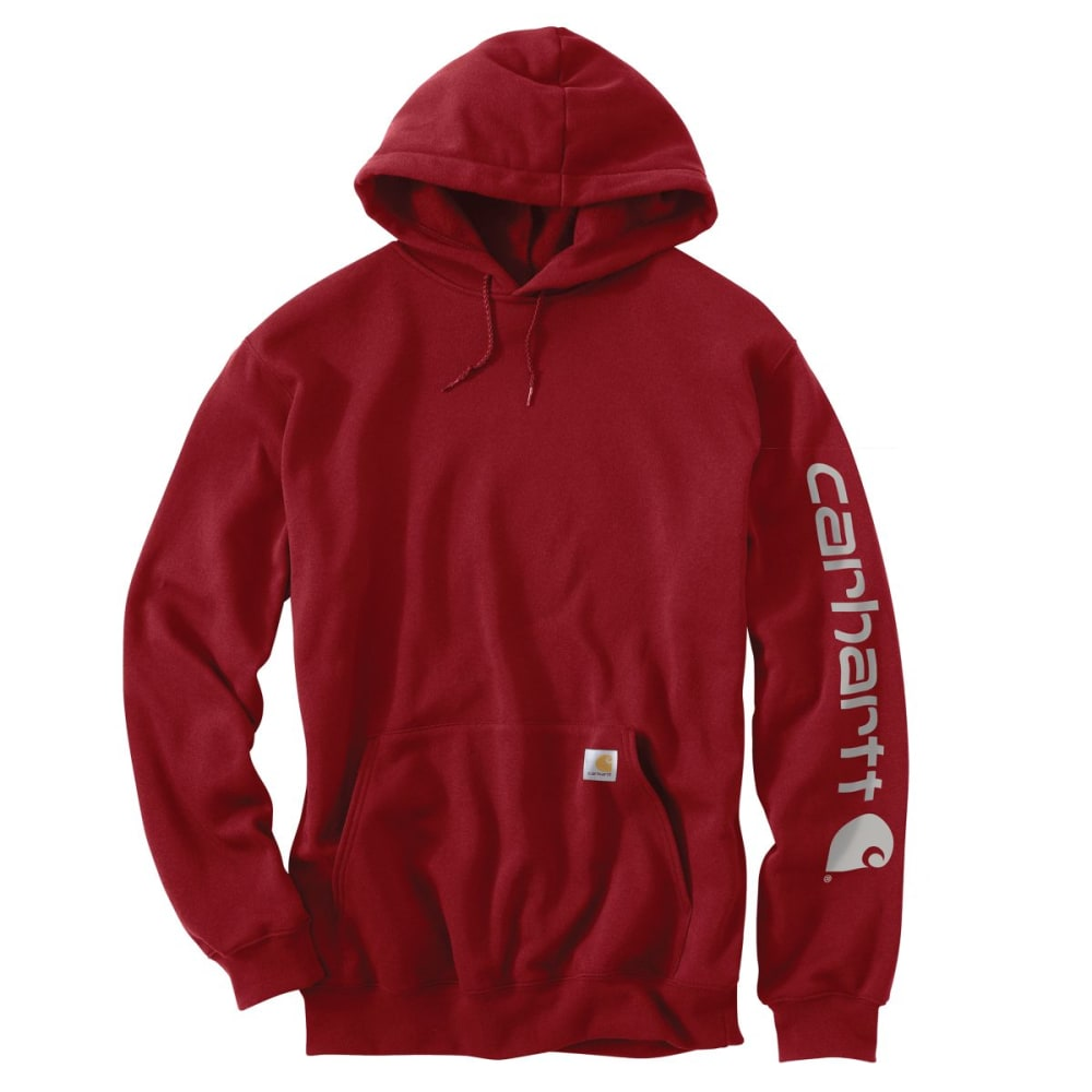 CARHARTT Men's Midweight Hooded Logo Sweatshirt - DK CRIMSON 608