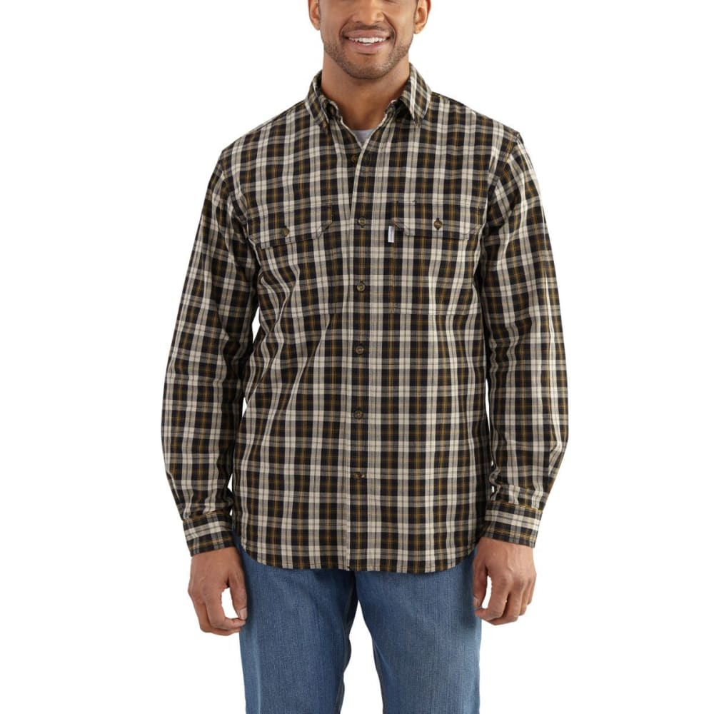 CARHARTT Men's Fort Plaid Long-Sleeve Shirt - 001 BLACK