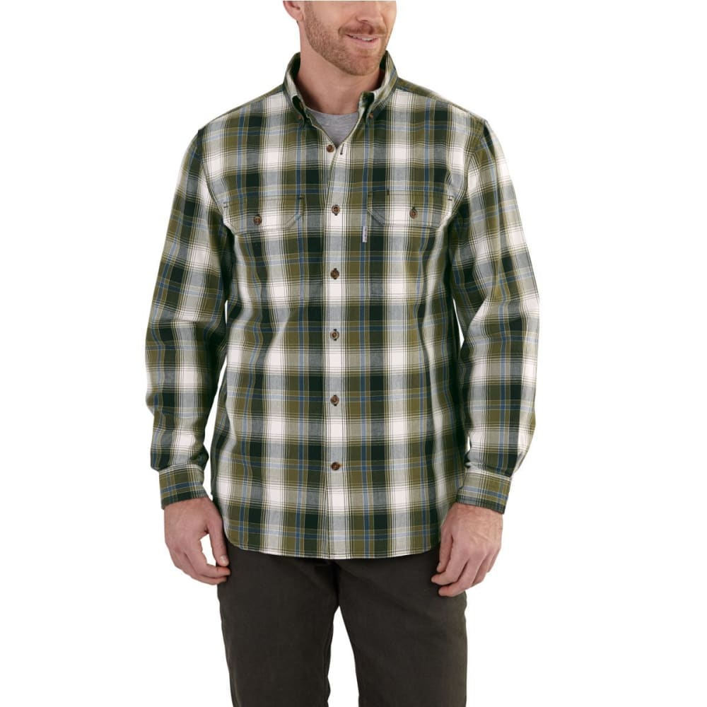 CARHARTT Men's Fort Plaid Long-Sleeve Shirt - 301 MOSS