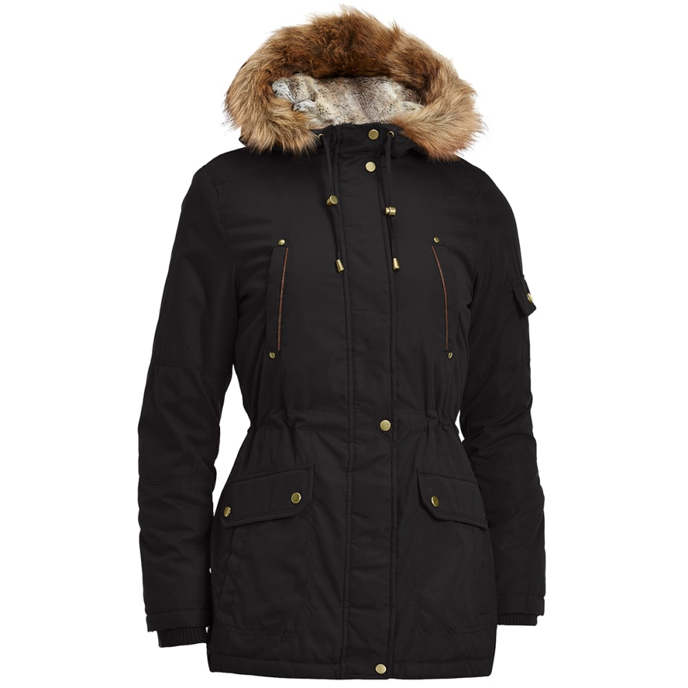 DETAILS Women's 32 in. Parka with Chinchilla Hood - BLACK