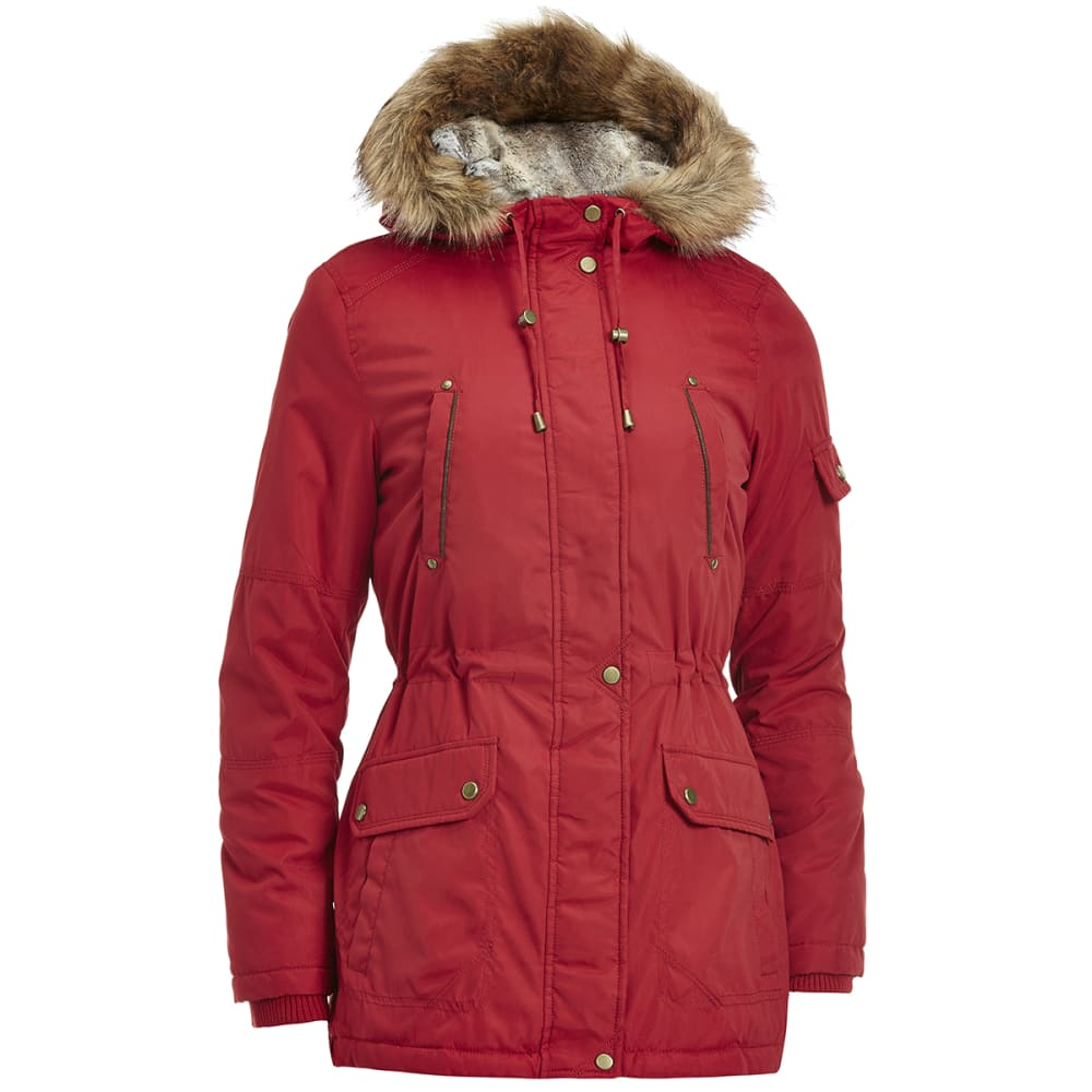 DETAILS Women's 32 in. Parka with Chinchilla Hood - RHUBARB