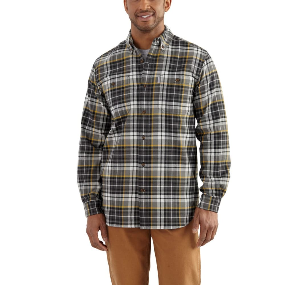 Carhartt Men's Trumbull Plaid Long-Sleeve Shirt - Black, L