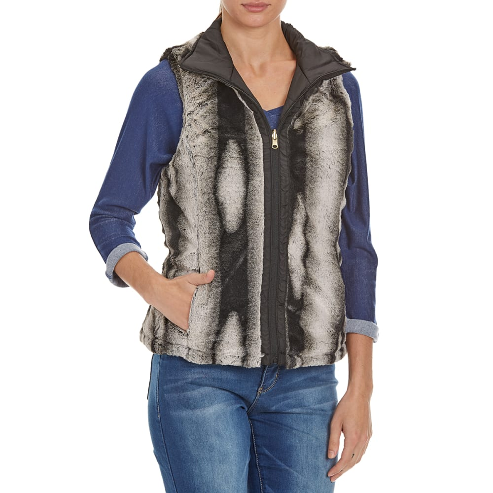 KC COLLECTIONS Women's Chinchilla Reversible Fur Vest - BLACK/CHINCHILLA