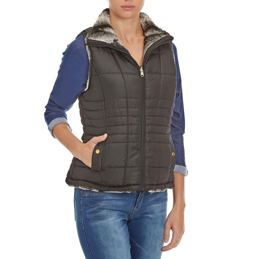 KC COLLECTIONS Women's Chinchilla Reversible Fur Vest - BLACK/CHINCHILLA