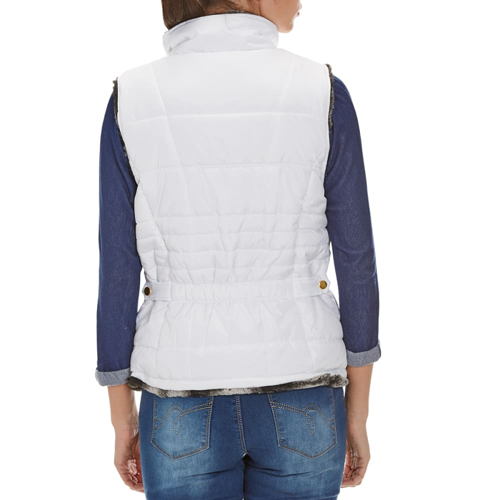 KC COLLECTIONS Women's Chinchilla Reversible Fur Vest - WHITE/CHINCHILLA