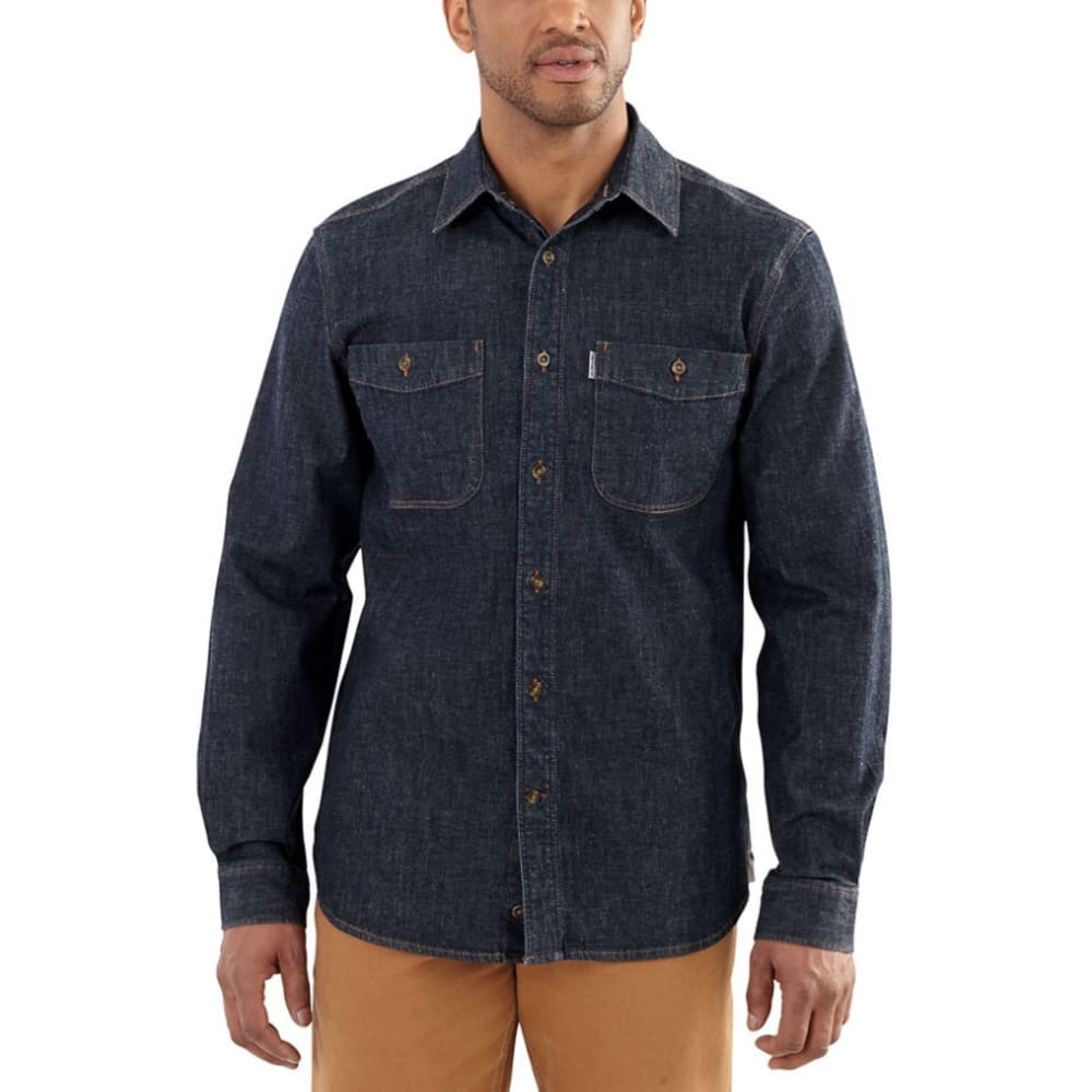CARHARTT Men's Rugged Flex Pattern Denim Shirt - 481 ROTARY RINSE