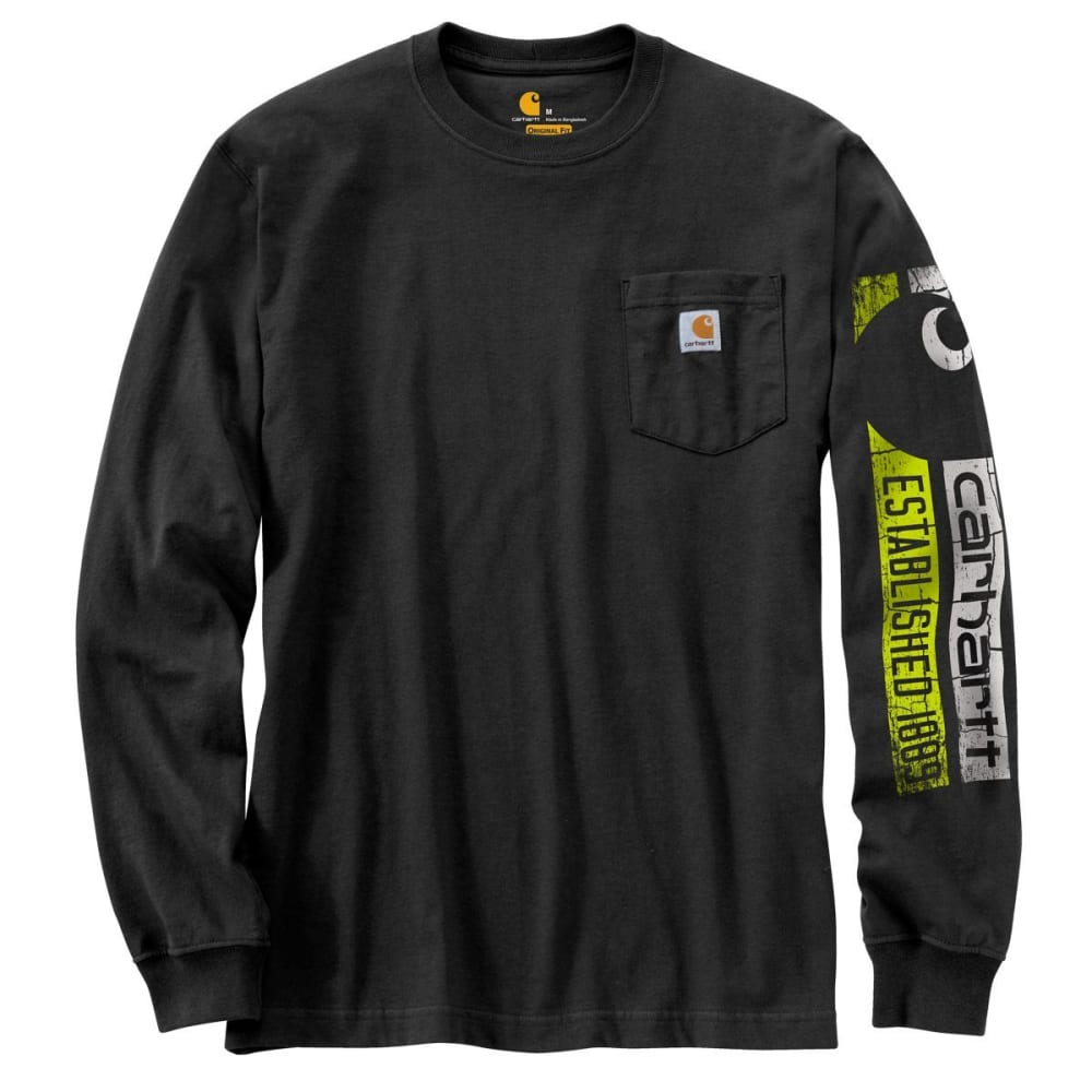 CARHARTT Men's Workwear Graphic 1889 Accent Long-Sleeve Tee - 001 BLACK