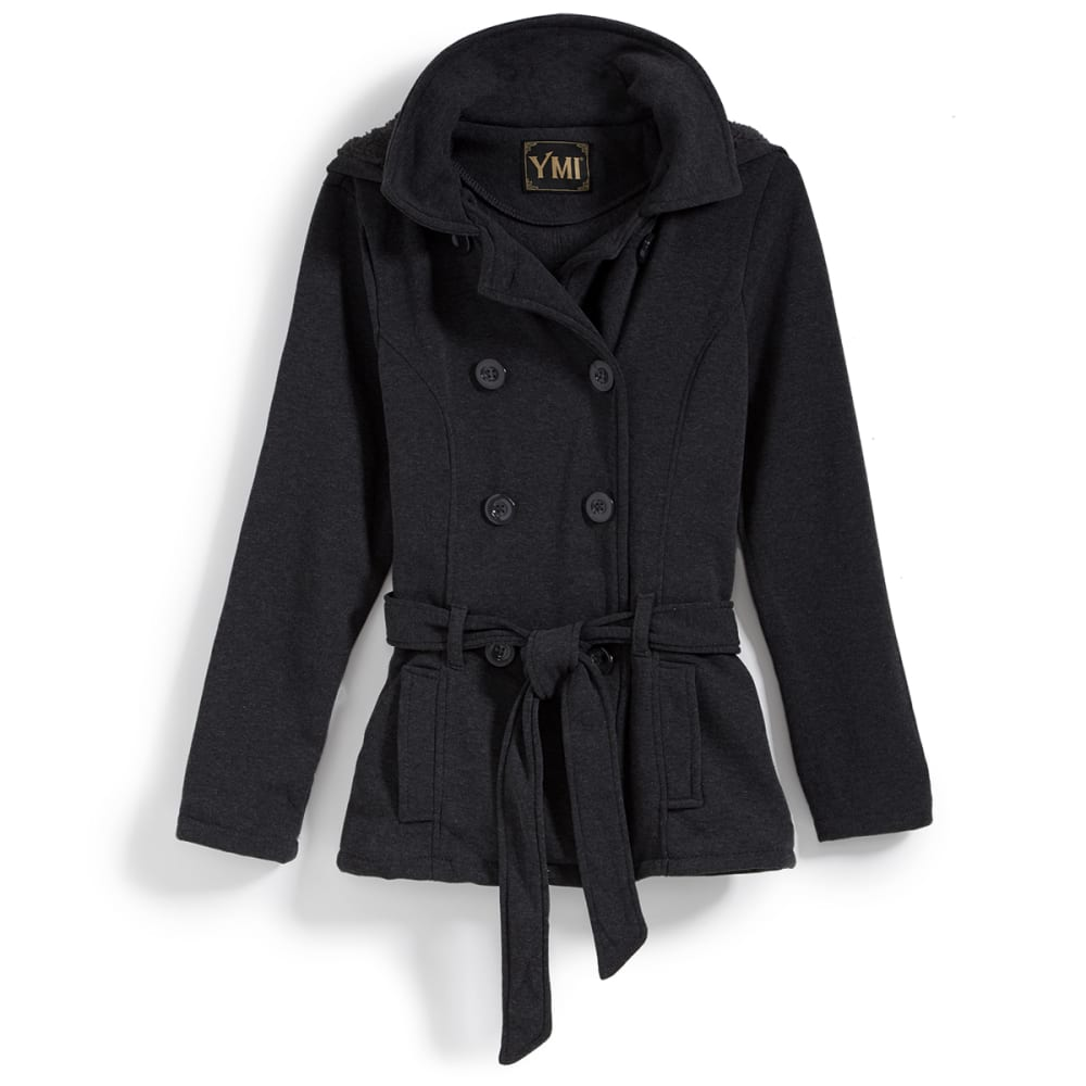 YMI Juniors' Fleece Double-Breasted Jacket - BLACK