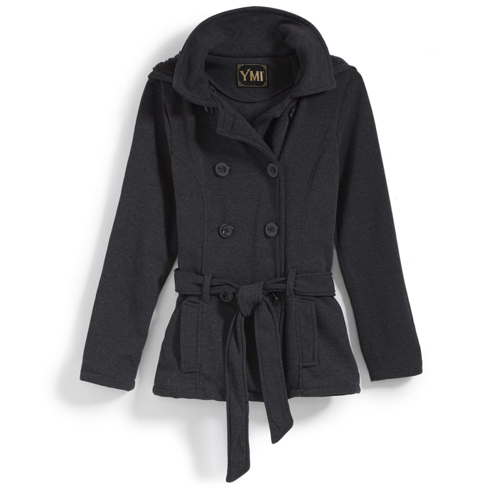 YMI Juniors' Fleece Double-Breasted Jacket - CHARCOAL