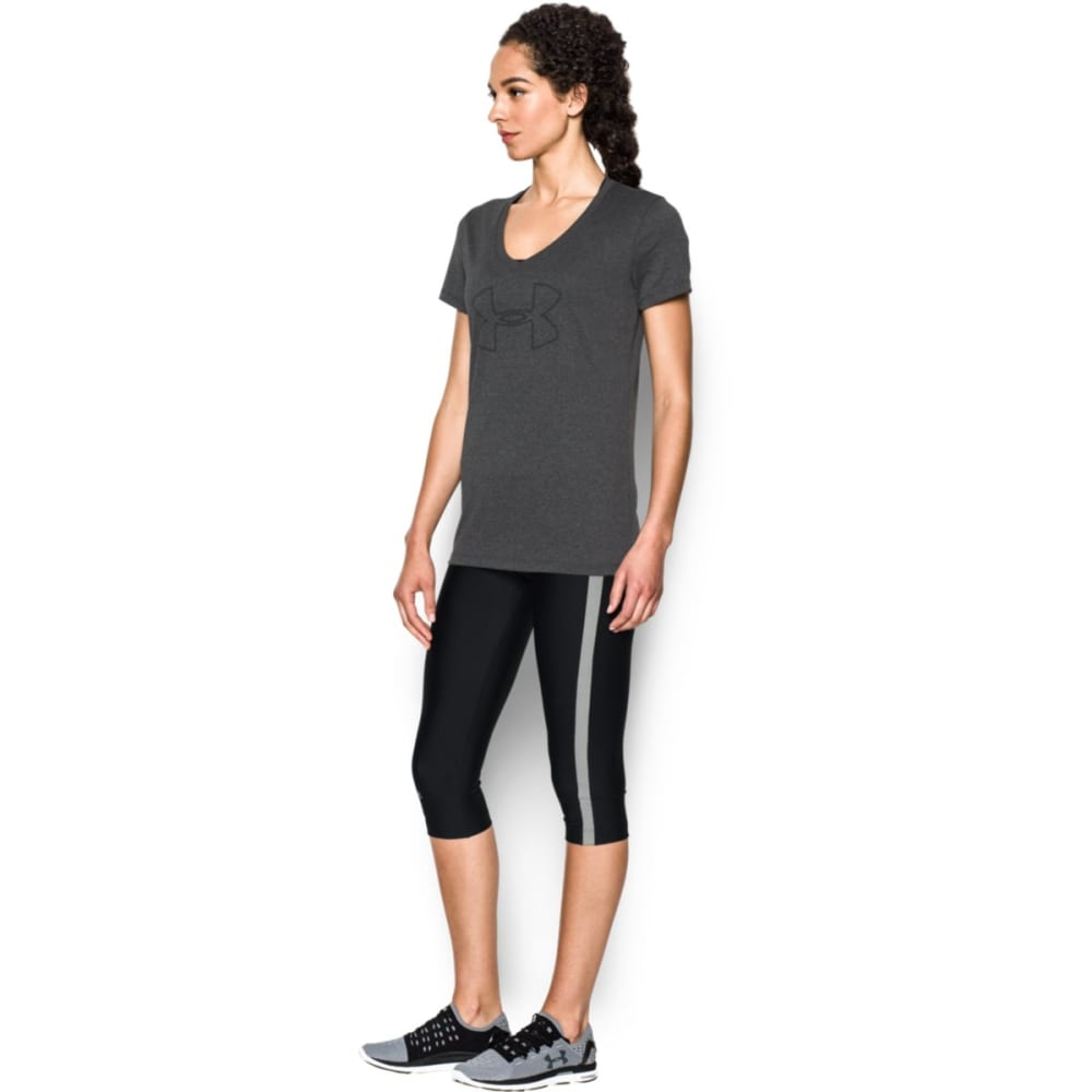 UNDER ARMOUR Women's Tech Branded V-Neck Tee - CARBON HTHR 090