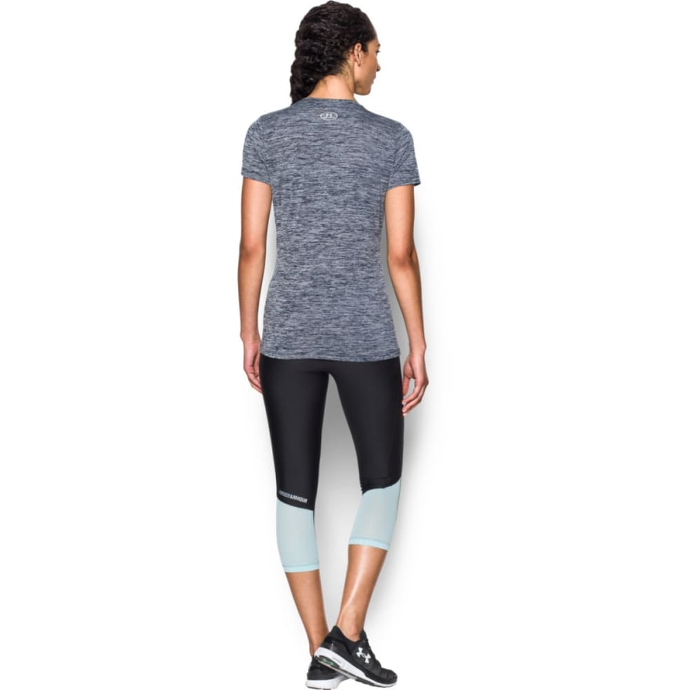 UNDER ARMOUR Women's Tech Twist Branded V-Neck Tee - MID NVY/AQUA 410