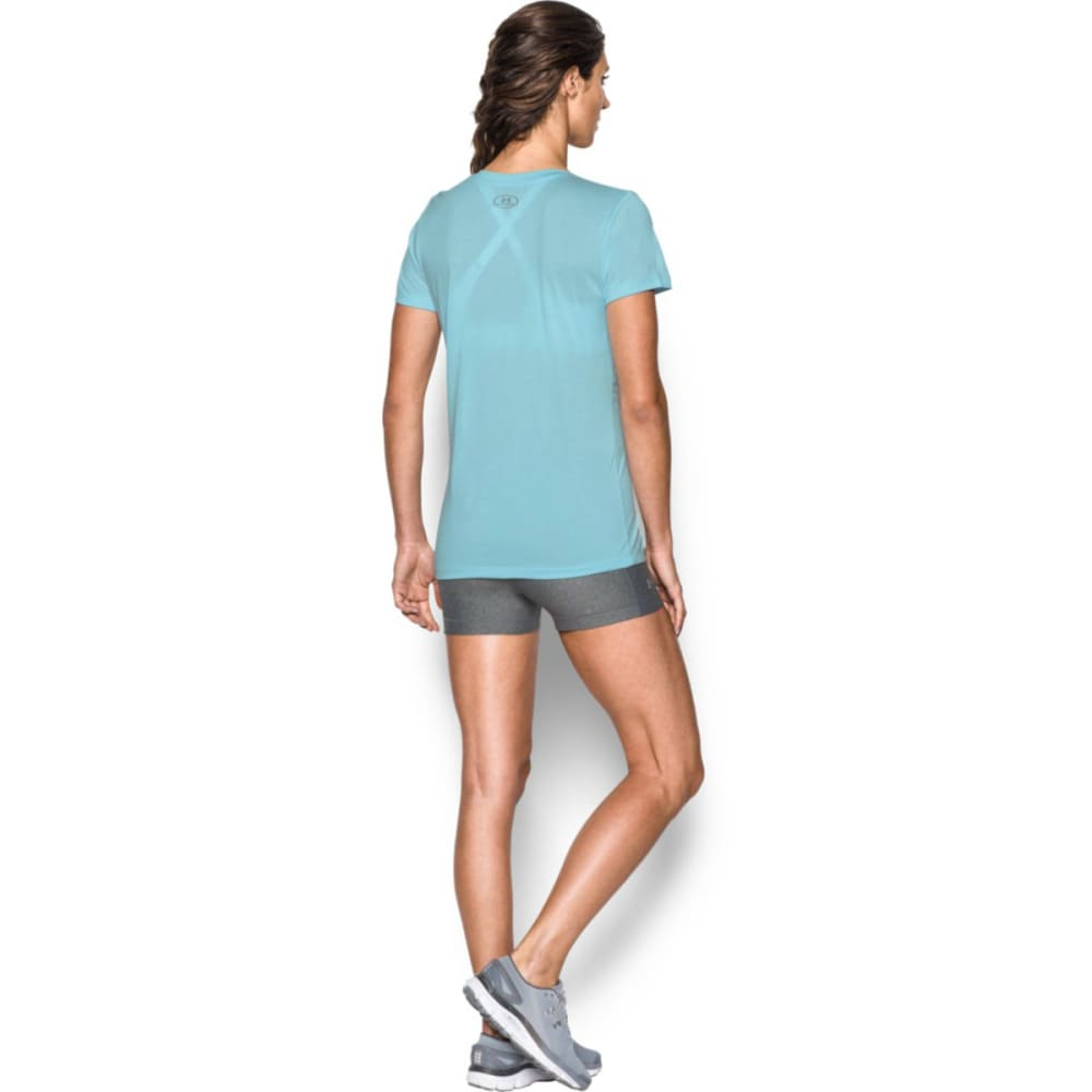 UNDER ARMOUR Women's Tech Twist Branded V-Neck Tee - MAUI/HERON 472