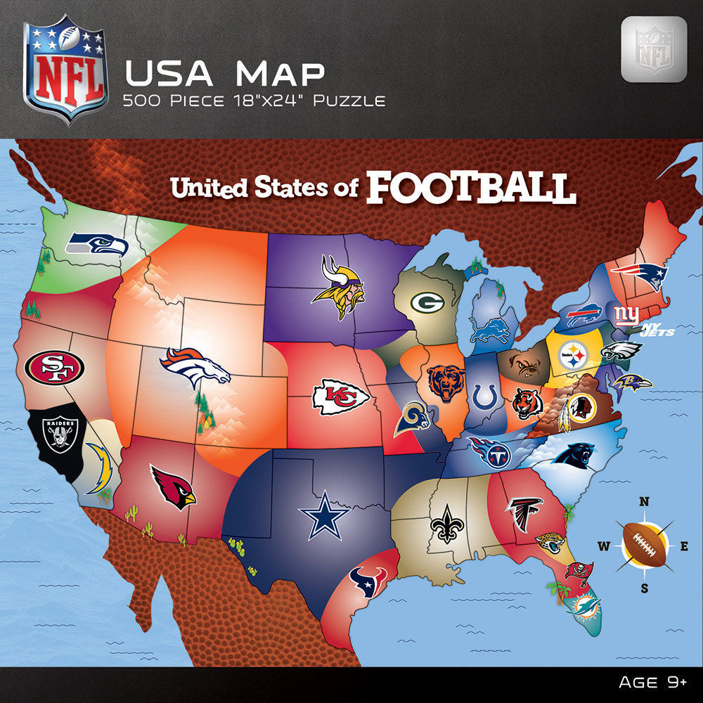NFL USA 500 Piece Map Puzzle - ASSORTED