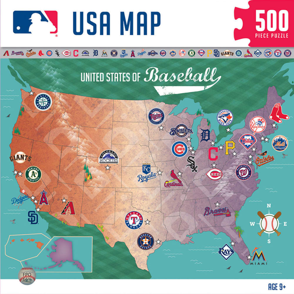 MLB USA 500 Piece Map Puzzle - ASSORTED