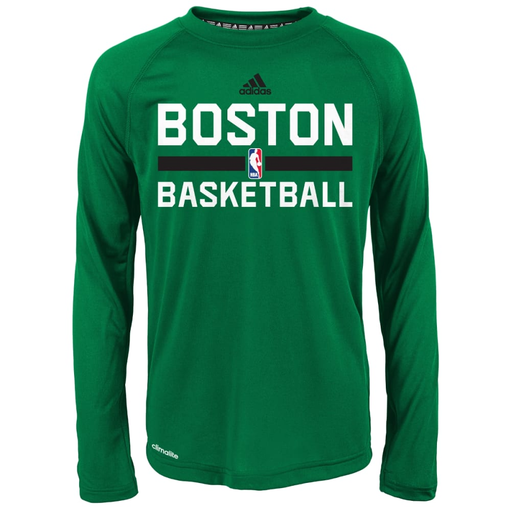 BOSTON CELTICS Boys' Practice Wear Long-Sleeve Tee - GREEN