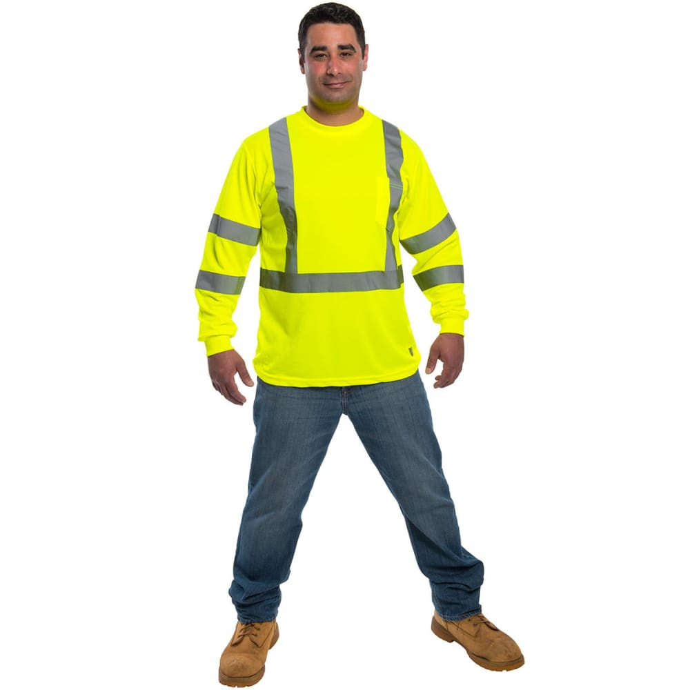 CRAFTSMAN Men's Long Sleeve Birdseye Mesh High Visibility Work Shirt - LIME