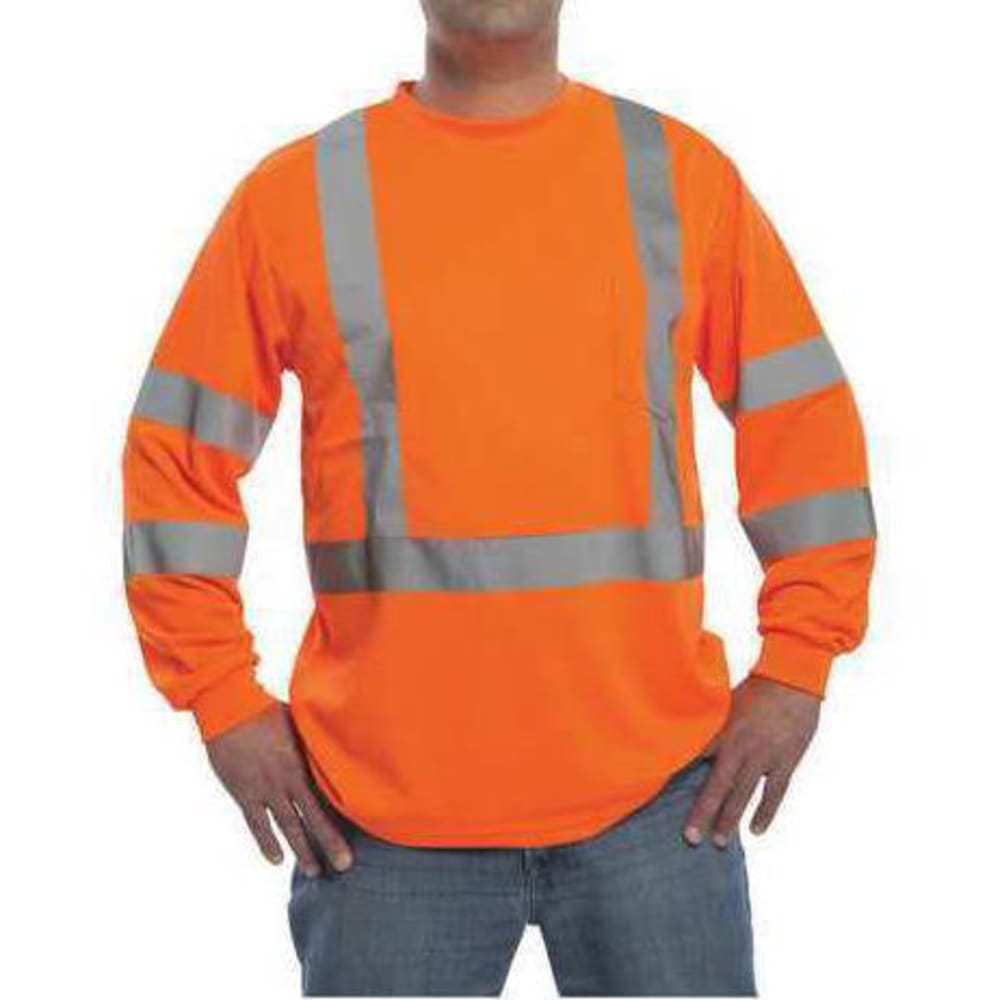 CRAFTSMAN Men's Long Sleeve Birdseye Mesh High Visibility Work Shirt - FLORESANT ORANGE