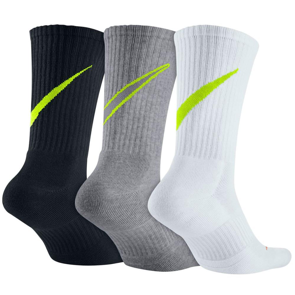 NIKE Men's Swoosh HBR Crew Socks, 3 Pairs - BLK/WHT/GRY 917