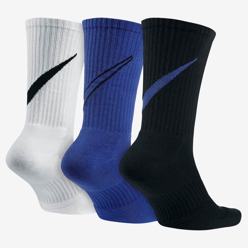 NIKE Men's Swoosh HBR Crew Socks, 3 Pairs - WHT/RYL/BLK 953