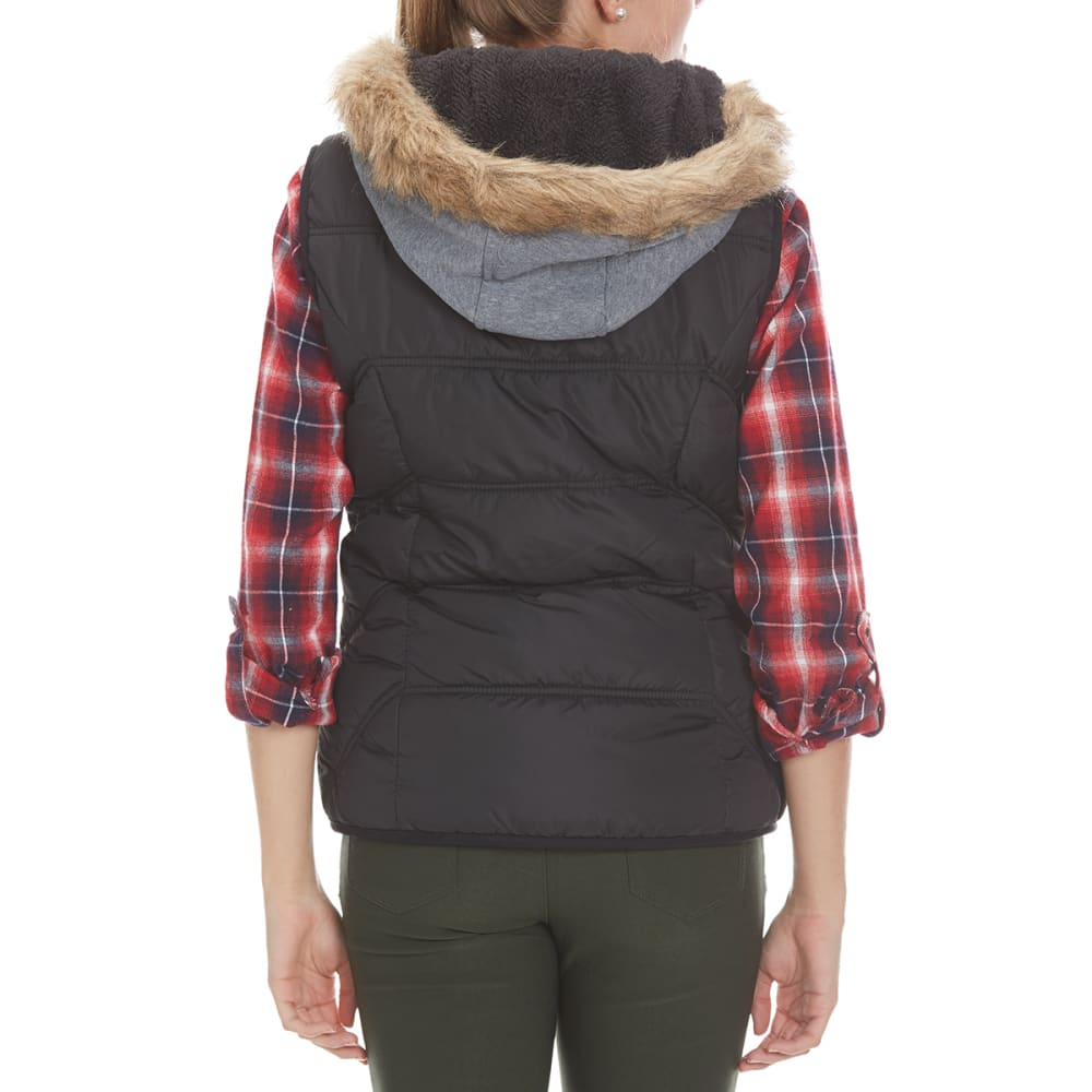 YMI Junior's Puff Vest With Fur Hood - BLACK
