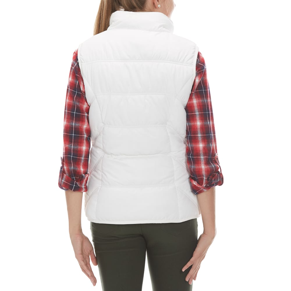 YMI Junior's Puff Vest With Fur Hood - IVORY