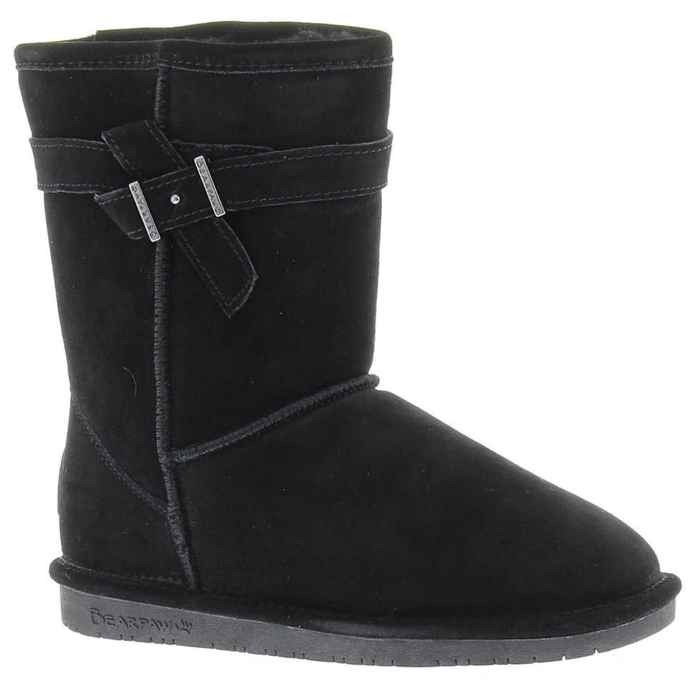 BEARPAW Women's Shearling Val Belted Boots - BLACK