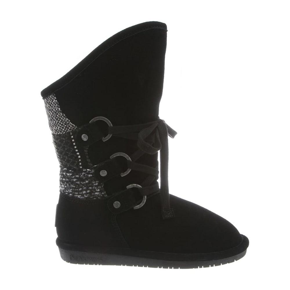 BEARPAW Women's Faith Patchwork Front Lace Up Boots - BLACK-024