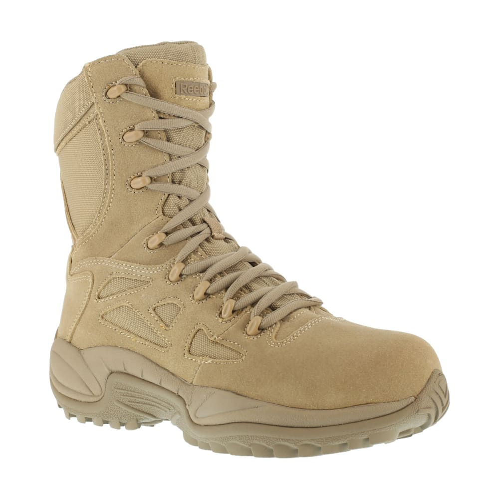 REEBOK WORK Men's Rapid Response 8inch RB Composite Toe Work Boots, Desert Tan, Wide 7