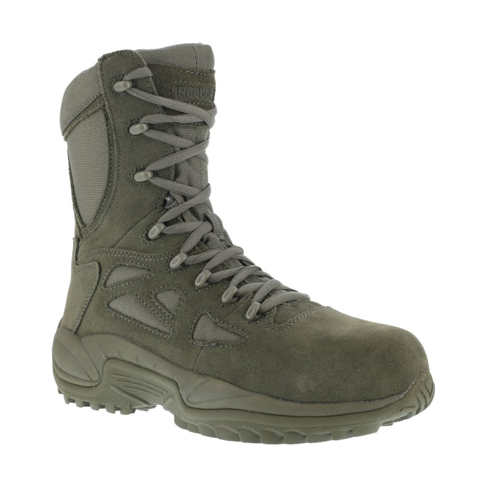REEBOK WORK Men's Rapid Response 8inch RB Composite Toe Work Boots, Sage Green, Medium Width - SAGE GREEN