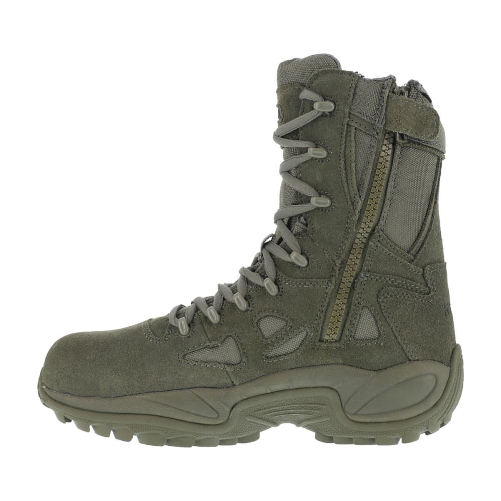REEBOK WORK Men's Rapid Response 8inch RB Composite Toe Work Boots, Sage Green, Wide - SAGE GREEN